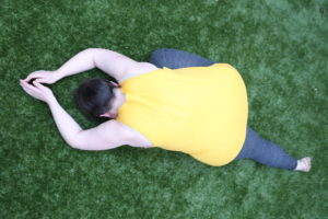 mz in pigeon pose  revive physiotherapy